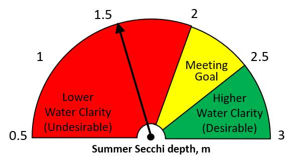 Summer 2020 Secchi disk depth = 1.54 m.